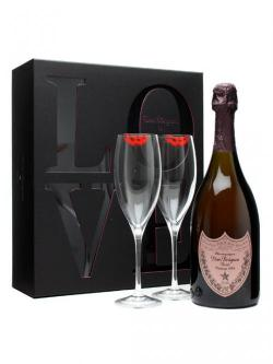 Dom Perignon 1998 Rose Champagne / LOVE Glass pack